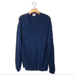 VINTAGE navy blue knit cotton vneck sweater, XL